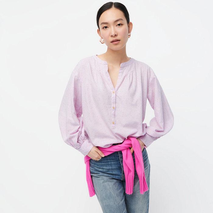 画像1: J.CREW WOMAN  open v-neck shirt in donegal flannel LAVENDER (XS) (1)