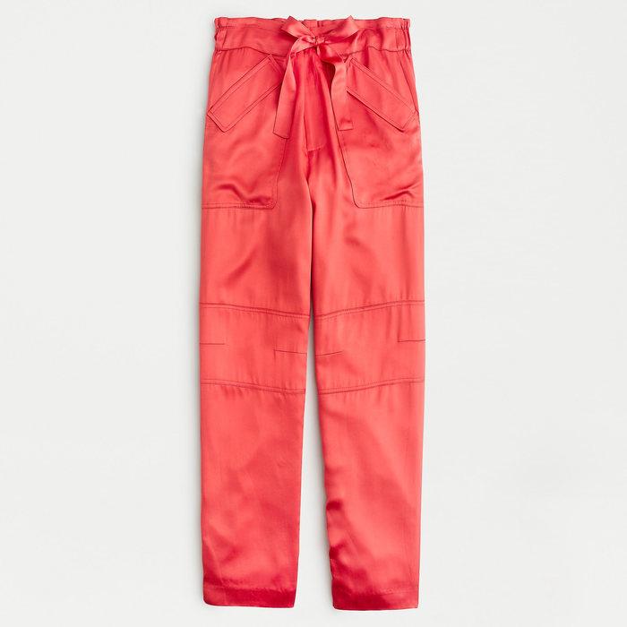 画像1: J.CREW WOMEN  drapey tie-waist cargo pant RUSTIC BRICK (4) (1)