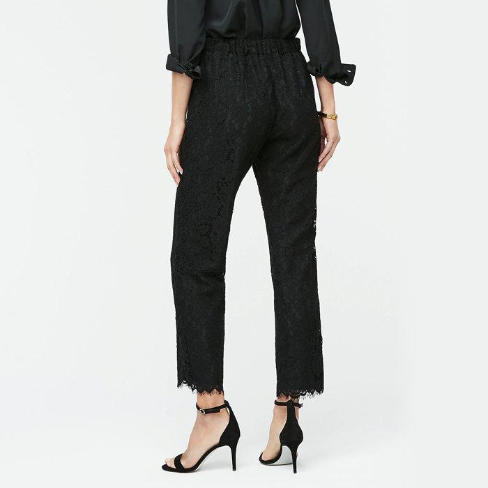 画像1: J.CREW WOMEN  high-rise pull-on peyton wide-leg pant in lace BLACK (00) (1)