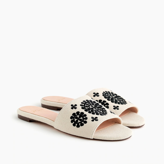 画像1: J.CREW WOMEN  embroidered cora slide sandals 24cm (1)