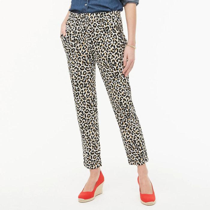 画像1: J.CREW WOMEN  leopard-print linen-cotton drawstring pant (00) (1)