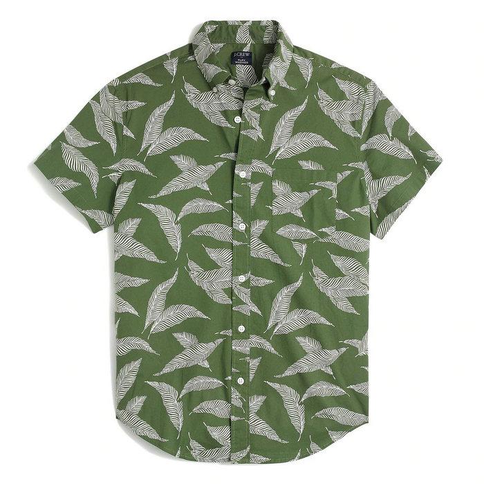 画像1: J.CREW   Short-sleeve slim leaf print shirt (1)