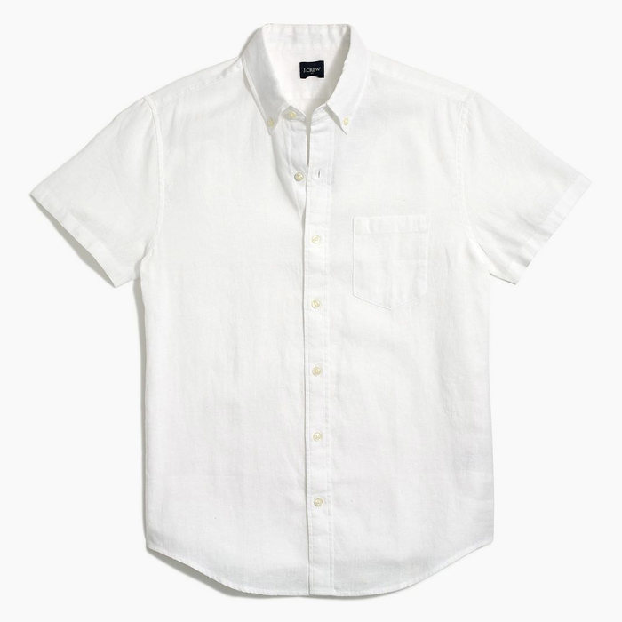 画像1: J.CREW   Slim short-sleeve linen-cotton shirt 3color (1)