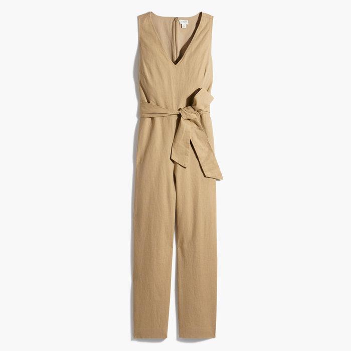 画像1: J.CREW WOMEN  linen-cotton v-neck jumpsuit (2) (1)