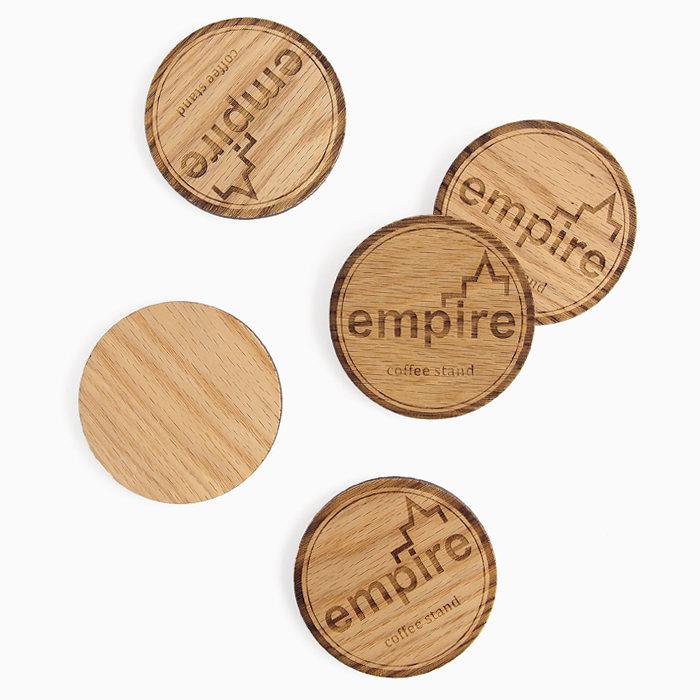 画像1: empire coffee stand  drink coaster (無垢材7mm厚) (1)