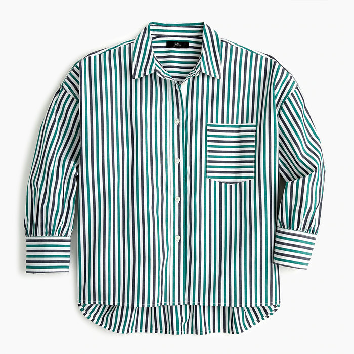 画像1: J.CREW WOMEN  oversized button-up in cotton poplin trifecta stripe (1)