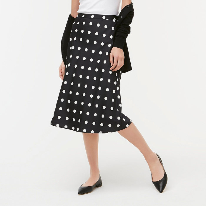 画像1: J.CREW WOMEN  dot-print bias midi skirt (S) (1)