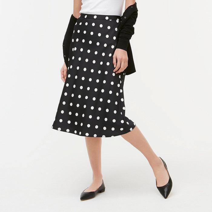 画像1: J.CREW WOMEN  dot-print bias midi skirt (S) (1)