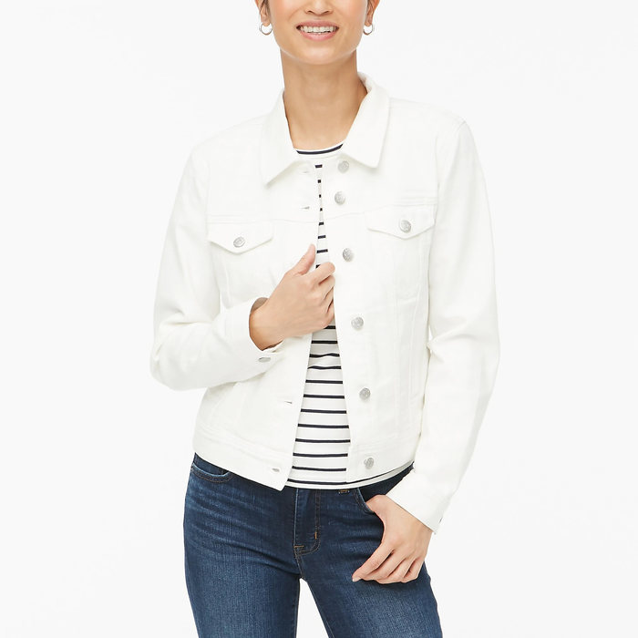 画像1: J.CREW WOMEN  classic jean jacket in white wash (1)