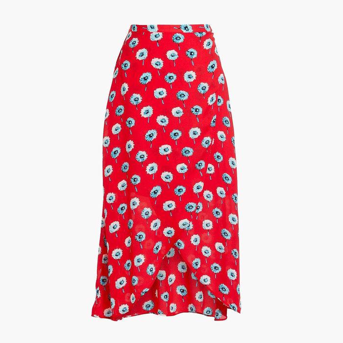 画像1: J.CREW WOMEN  printed faux-wrap midi skirt (S) (1)