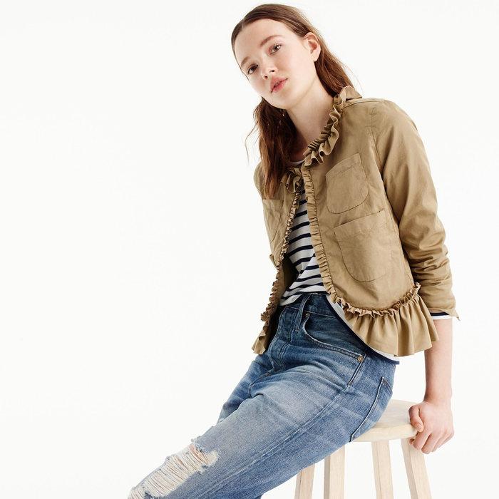 画像1: J.CREW WOMEN  ruffle chino jacket (4) (1)