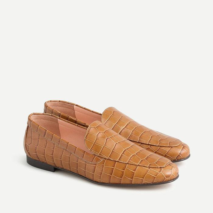画像1: J.CREW WOMEN   Cecile Smoking Slippers in Croc-Embossed Leather 24cm (1)