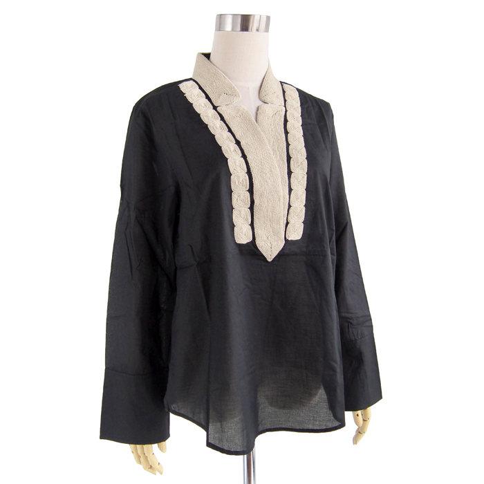 画像1: J.CREW WOMEN  soutache trim tunic in cotton voile BK (S) (1)