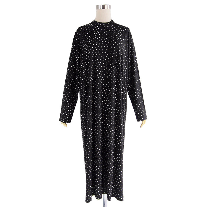 画像1: Monki  Pia spot print long sleeve midi dress in black (1)