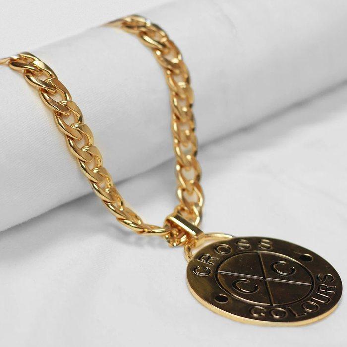 画像1: Cross Colours    Circle Medallion Miami Cuban Necklace (1)