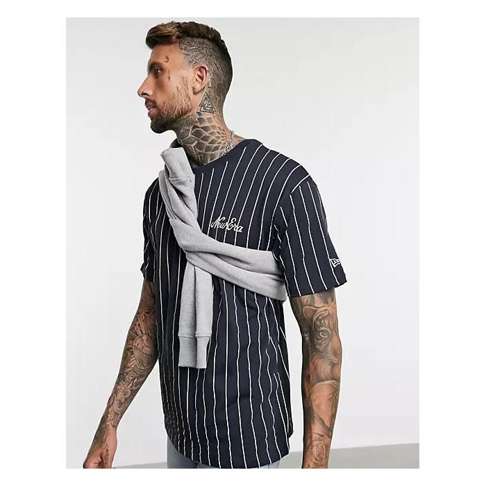 画像1: New Era   Pinstripe Oversized T-Shirt  (1)