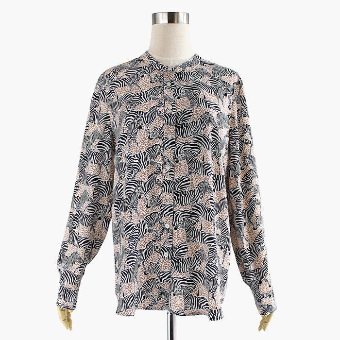 画像1: J.CREW WOMEN  button up down zebra print blouse (S) (1)