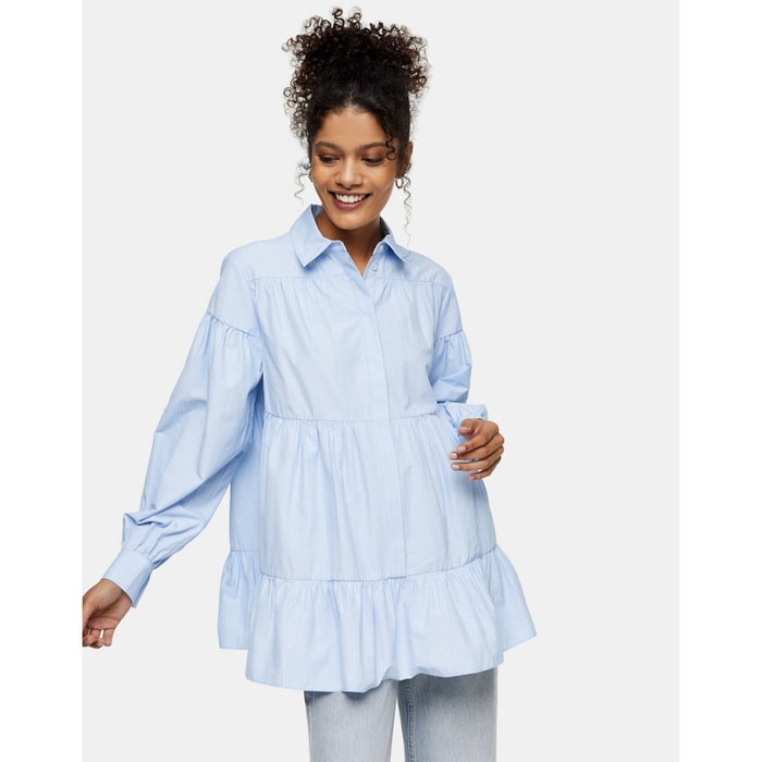画像1: TOPSHOP  poplin shirt with tiered hem in blue stripe (4-6) (1)